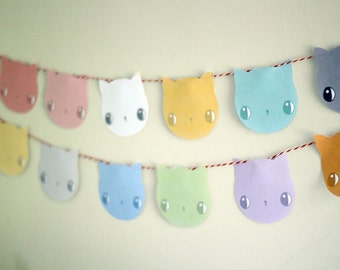 Pastel Kitten Garland / bunting - PRINTABLE CRAFT PROJECT