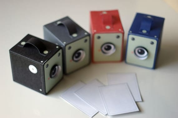 SPECIAL - Vintage Box Cameras - 4 colours - Printable PDF paper craft project