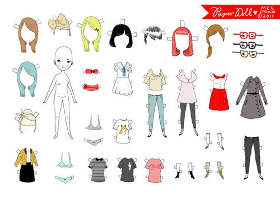 Paper Doll Playset - Comes with lots of different outfits - Printable PDF file