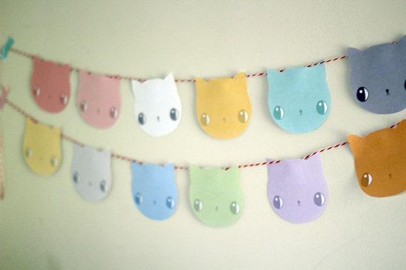 Pastel Kitten Garland / bunting - PRINTABLE CRAFT PROJECT