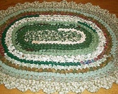 Rag rug crocheted oval ... greens, creams, burnt red, sage, brownish gold