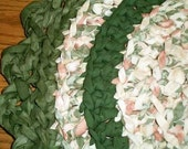 Handmade rag rug crocheted in cream, coral or salmon, medium and dark greens