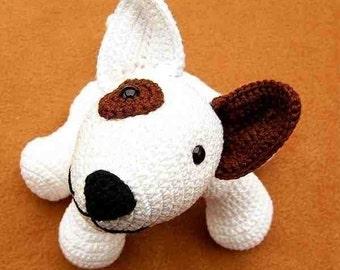 amigurumi dog bull terrier Jokie Joke, PDF crochet pattern animal tutorial bully egghead 6 inches tutorial file