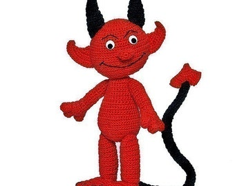 Damon Devil, PDF Pattern, amigurumi tutorial from Katja Heinlein fantasy red fantasy crochet file download love stuff toy imp