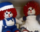 Raggedy Ann and Andy Soft sculpted Crocheted Dolls