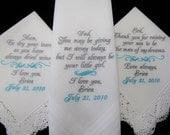 Wedding Handkerchiefs Set of Three Personalized