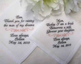 Contemporary Style Personalized Wedding Handkerchiefs for Mothers of Bride and Groom