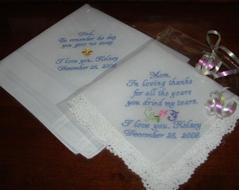 Personalized Wedding Handkerchiefs for Parents of the Bride, Mother of the Bride, Father of the Bride