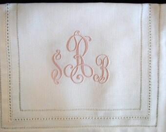 Elegant Monogrammed Linen Table Runner for Head Table, Cake Table, Dining Room Table