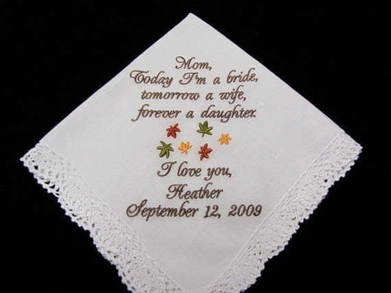 Autumn Wedding with Fall Leaves  Personalized Mother of the Bride Handkerchief