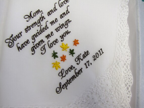 Fall wedding personalized mother of the bride hankie