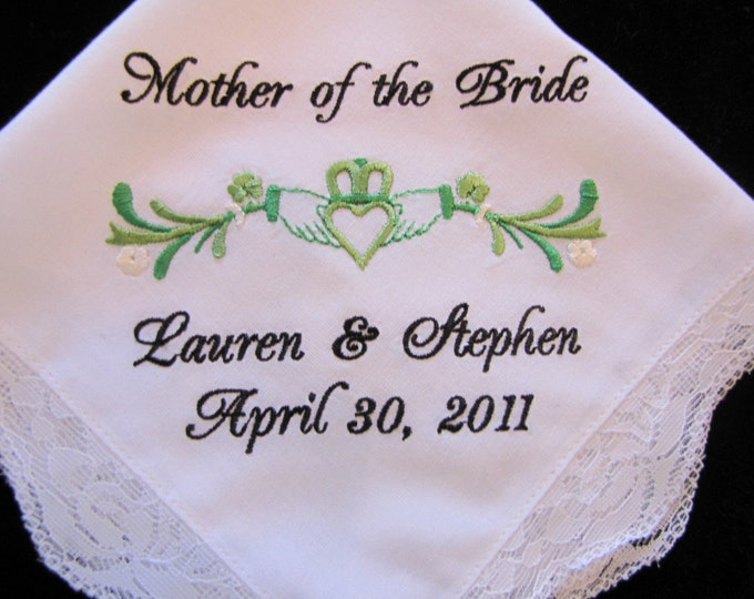 Personalized Claddagh Wedding Handkerchief for Bride, Bridal Party or Parent Gift