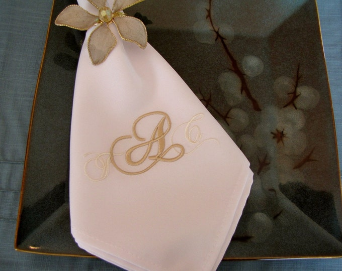 Set of Eight Custom Monogrammed Easy Care Poly Dinner Napkins