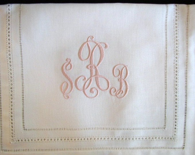 Elegant Monogrammed Linen Table Runner for Head Table, Cake Table, Dining Room Table