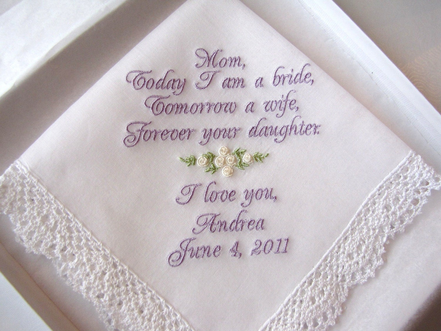 Mother Of The Bride Personalized Wedding Handkerchief With