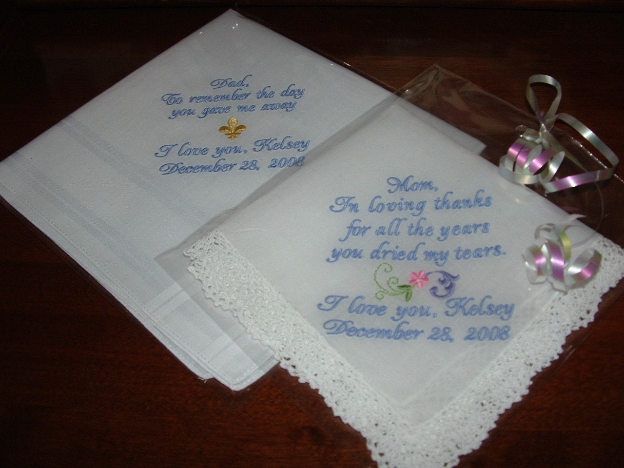 Wedding Gifts For Parents Handkerchief : Personalized Wedding Handkerchiefs for Parents of the Bride