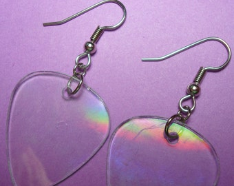 Recycled CD Guitar Pick Earrings