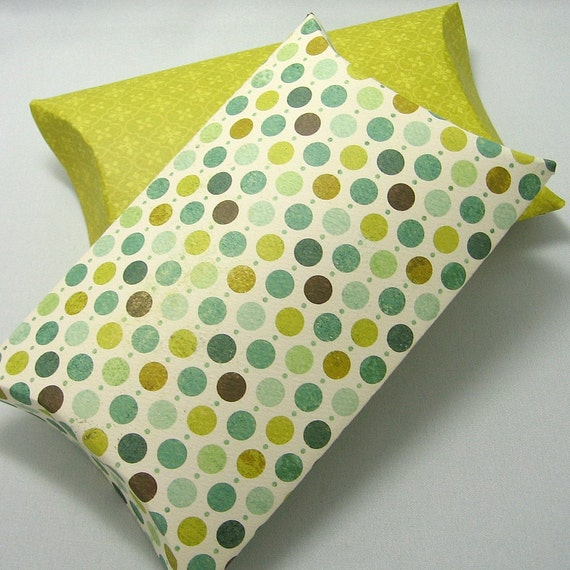 2 large pillow boxes with tags - Little Boy Dots -
