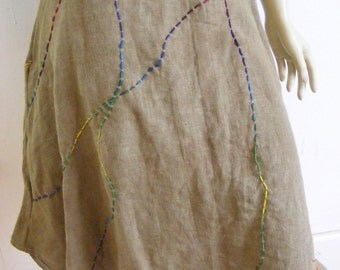 Herman's Hemp Brown hand dyed Twine skirt waist 30 in with pocket