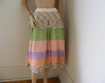 "Crochet & repurposed Skirt lined  US organic cottonW 27"" has peplim New"