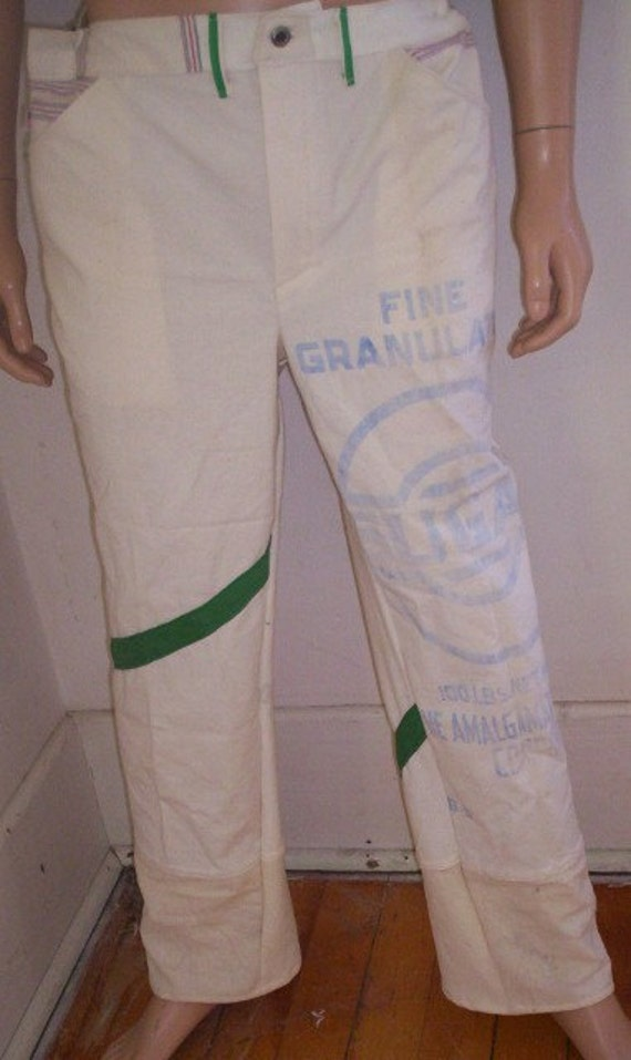 Hermans Repurposed  Feed sack Cotton Mens Jeans 38 X 30