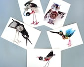 robot bird postcards- set of 5