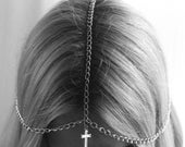 Silver Cross Chain Headpiece