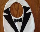 BABY tuxedo bib with satin lapels & bowtie, white flannel