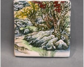 Winter Landscape over Red Tulip   4in x 4in