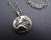 courage lion sterling silver charm necklace - antiqued sterling chain