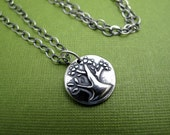 tree of life sterling silver charm necklace - antiqued sterling chain