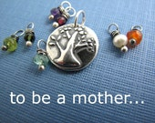 personalized mother and child sterling silver charm necklace