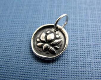 zen lotus sterling silver charm