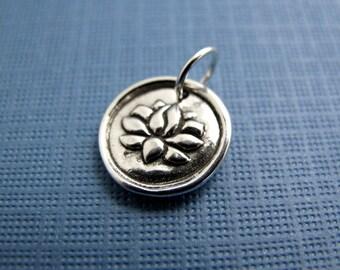 lakshmi lotus sterling silver charm