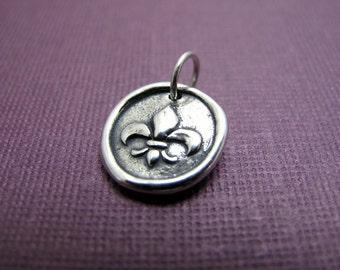 north wind fleur de lis sterling silver charm