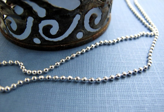 plain sterling silver 2mm bead ball chain - personalized interchangeable and collectible charm necklaces