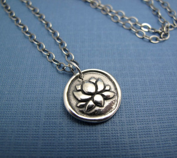zen lotus sterling silver charm necklace - antiqued sterling chain
