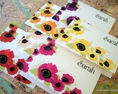 Poppy Personalized Note Cards Set of 12 - Orange, Pink, Yellow, Purple, Fuschia and Red Poppies