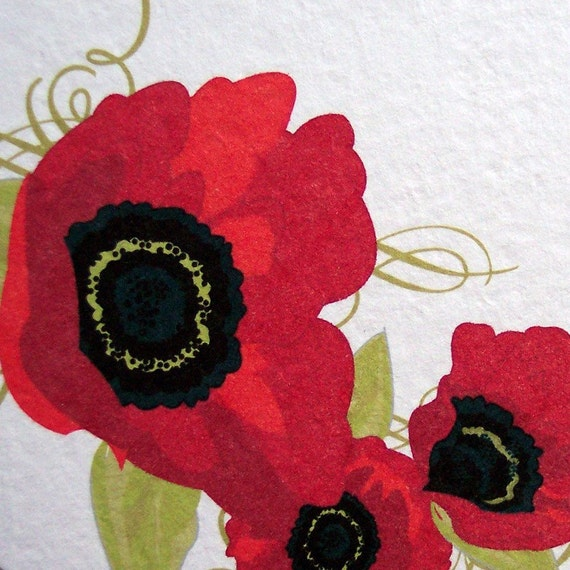 Red Poppies Personalized Set of 10 Notecards