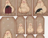 Folk Art Snowmen Tags