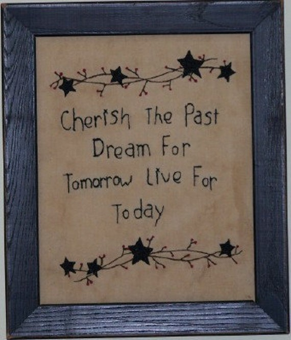 Framed Cherish The Past Stitchery