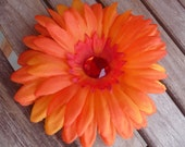 Fireball Orange Red Flower Hair Clip