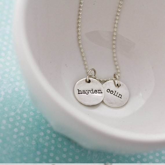 two name charms...fine silver necklace