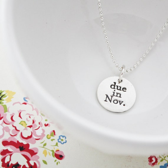 due in...fine silver maternity necklace