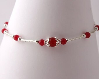 Sterling Silver and Red Jade Anklet