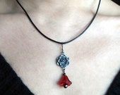 SALE from 18.00 - Latin Linaea - Necklace with burgundy glass flower