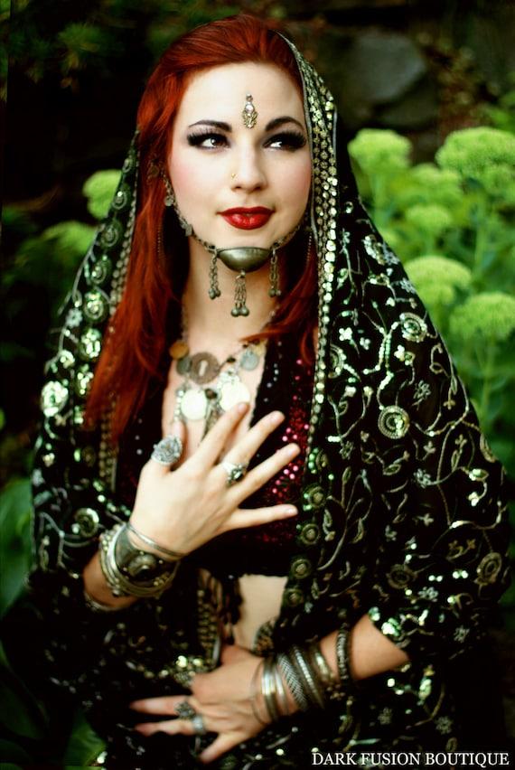 Halter, C Cup,  Black and Dark Red Sparkle, Polka Dots, Noir, Bellydance, Costume, Tribal, Fusion, Kuchi, Bra, Gothic,