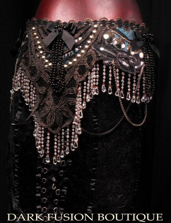 Professional Bellydance Belt, Fusion, Noir, Nouveau, Black, Teal, Burlesque, Cabaret, Gothic, Tribal, Circus