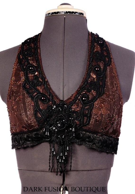 Halter, D Cup, Black , Brown, Copper, Noir, Bellydance, Dance, Costume, Tribal, Fusion, Vintage Style, Gothic