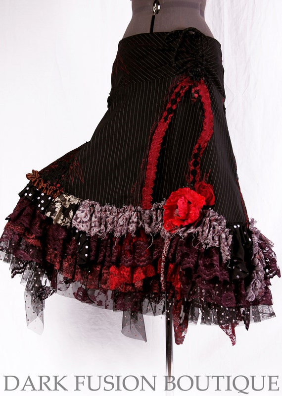 Skirt, Black, Red, Maroon Combo, Ruffles, Cabaret, Vaudeville, Steampunk, Stripes and Polka Dots, Noir, Gothic, Dance